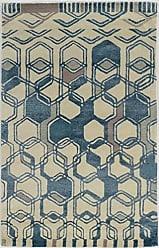 Linon Linon Collection Aspire Wool Triangle Blue/Off-whitee 5x8 5X 8