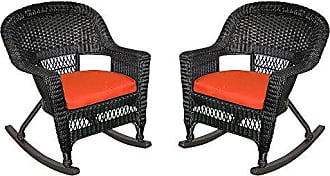 Jeco W00207R-D_2-FS018 Rocker Wicker Chair with Red Cushion, Set of 2, Black