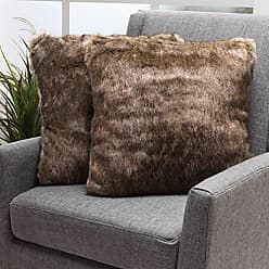 Christopher Knight Home Decorative Faux Fur Fabric Throw Pillow Ideal for Living Room or Bedroom, 18 x 18 x 3, Dark Brown