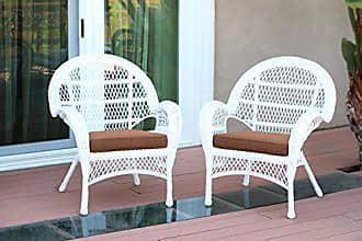 Jeco W00209-C_2-FS007-CS Wicker Chair with Brown Cushion, Set of 2, White/W00209