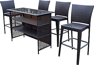 Oakland Living Elite Wicker 5 Piece Outdoor Bar Set, Mens, Patio Furniture - 90053BT-90054BC4-5-CF
