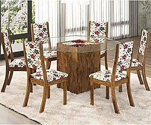 Viero Conjunto Sala de Jantar Mesa e 6 Cadeiras Mona Viero Avelã/Passion
