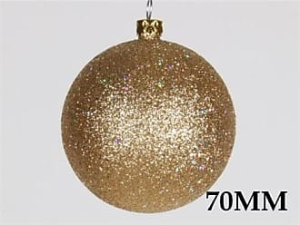 Queens of Christmas WL-ORN-BLKG-70-GO-W 70mm Glitter Gold Ball Ornament with Wire (Pack of 12)