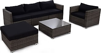 Costway 6 pcs Patio Rattan Wicker Sectional Furniture Set w/ Black Cushion