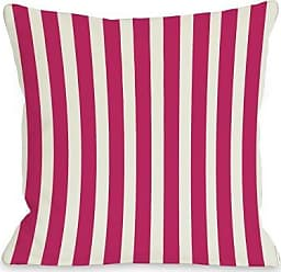 One Bella Casa Stripes Outdoor Throw Pillow by OBC, 18x 18, Fuchsia