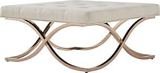 Weston Home Libby Fabric Coffee Table Ottoman with Metal X-Base Dark Gray - 68E662BS-4M1[OT]DGLC3