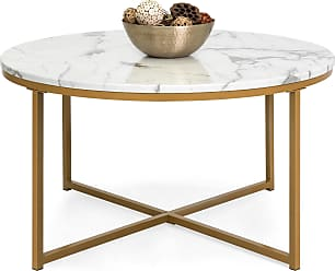 Best Choice Products 35in Round Accent Coffee Table w/ Faux Marble Top - White/Gold