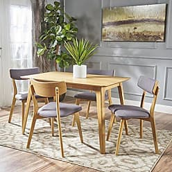 GDF Studio Christopher Knight Home 301332 Meanda Mid Century Natural Oak Finished 5 Piece Wood Dining Set with Dark Grey Fabric Chairs