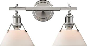 Golden Lighting Golden Orwell 18.25 2-Light Bath Vanity in Pewter w/ Opal Glass