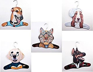 The Stupell Home Décor Collection The Stupell Home Decor Collection 5Pack Animal Clothing Hanger, Greyhound/Teacher Yellow Lab/Chef Bassett House/Salesman Doberman/Pilot Cat