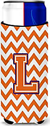 Caroline's Treasures Letter L Chevron Orange and Regalia Ultra Beverage Insulators for slim cans CJ1062-LMUK