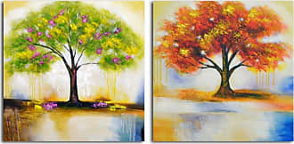 Omax Decor OMAX Spring Tree and Autumn Leaves Painting on Canvas - 64W x 32H in. - A 3348