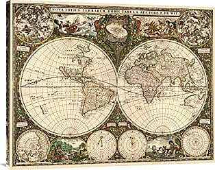 Bentley Global Arts Global Gallery Budget GCS-379299-36-142 Frederick De Wit World Map Gallery Wrap Giclee on Canvas Wall Art Print