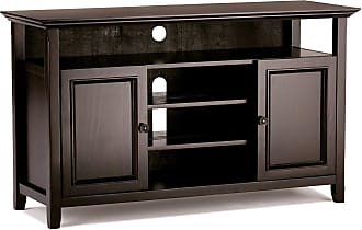 Simpli Home Amherst Solid Wood TV Media Stand in Dark Brown