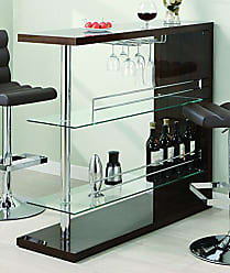 Coaster Rectangular 2-Shelf Bar Unit with Wine Holder Glossy Cappuccino, Chrome and Clear