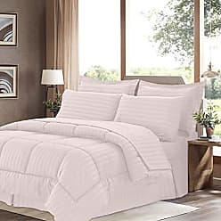 Sweet Home Collection 8 Piece Comforter Set Bag with Dobby Stripe Design, Bed Sheets, 2 Pillowcases, 2 Shams Down Alternative All Season Warmth, King, Pale Pink
