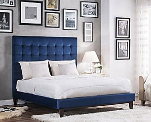 Iconic Home FBD9145-AN Beethoven Bed Frame, King, Navy