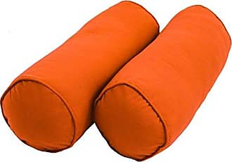 Blazing Needles Double-Corded Solid Twill Bolster Pillows with Inserts (Set of 2), 20 x 8, Tangerine Dream