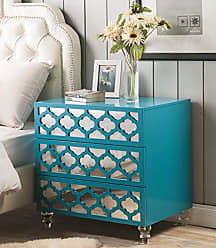 Chic Home Iconic Home Salvadore Stylish Accent Furnishing Modern Mirrored Lacquer-Finish Lucite Leg Side Table, 28X20X28 Turquoise