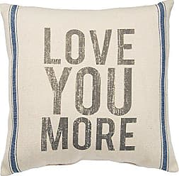 Primitives By Kathy Vintage Flour Sack Style Love You More Throw Pillow, 20-Inch Square