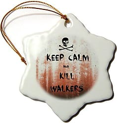 3D Rose 3dRose ORN_183518_1 Keep Calm and Kill Walkers Snowflake Ornament, Porcelain, 3-Inch