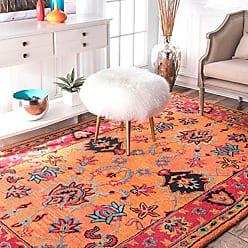 nuLOOM SPRE21A Hand Tufted Montesque Wool Rug, 6 Round, Orange