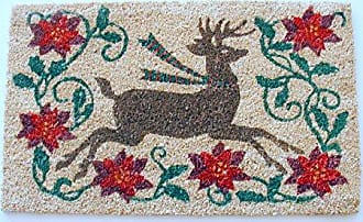 Geo Crafts Vinyl Back Pointsettia Reindeer Doormat