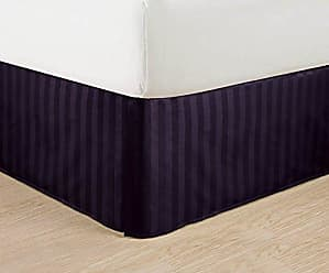 Elegant Comfort Wrinkle Free - Egyptian Quality Stripe Bed Skirt - Pleated Tailored 14 Drop and Colors, California King, Purple