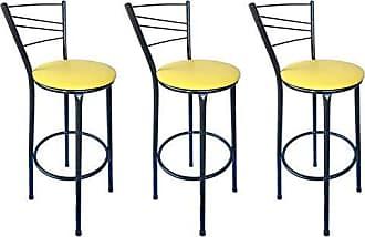 Itagold Kit 3 Banquetas Ravena Tubo Preto Craqueado com Assento Amarelo - ItaGold