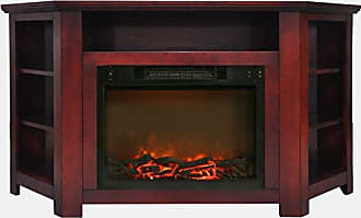 Cambridge Silversmiths CAM5630-1CHR Stratford 56 In. Electric Corner Fireplace in Cherry with 1500W Fireplace Insert