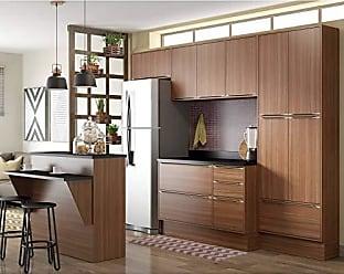 Multimóveis Cozinha Compacta Calábria 8 Peças 13 Portas Nogueira Multimóveis