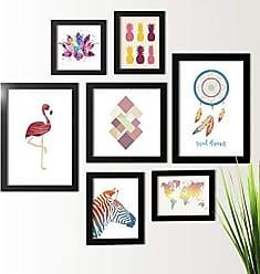 Los Quadros Kit de Quadros Decorativos 7 Peças Flamingo Zebra Los Quadros Preto