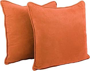 Blazing Needles Double-Corded Solid Microsuede Square Floor Pillows with Inserts (Set of 2), 25, Tangerine Dream