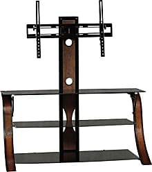 Sauder Sauder 413906 Veer Panel TV Stand with TV Mount, For Tvs up to 50, Black/Seasoned Cherry finish and Black Glass