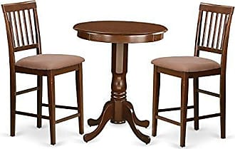 East West Furniture EDVN3-MAH-C 3 Piece Pub Table and 2 Chairs Set