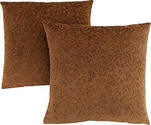 Monarch Specialties Decorative Throw Pillow, Floral Velvet, Light Brown, 2pcs