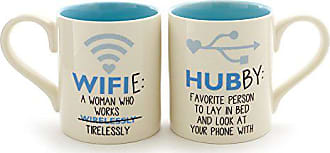 Enesco 6000506 Our Our Name Is Mud Wifie And Hubby Stoneware Mug Set, 12 oz, Blue