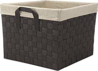 Whitmor Woven Strap Storage Tote Basket, W/Liner, Cream