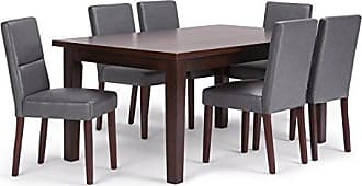 Simpli Home Simpli Home AXCDS7ASH-G Ashford Contemporary 7 Pc Dining Set with 6 Upholstered Dining Chairs and 66 inch Wide Table