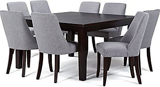 Simpli Home Simpli Home AXCDS9WA-G Walden Contemporary 9 Pc Dining Set with 8 Upholstered Dining Chairs and 54 inch Wide Table