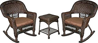 Jeco W00201R-A_2-RCES007 3 Piece Rocker Wicker Chair Set with with Brown Cushion, Espresso