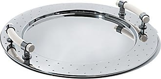 Alessi Round Tray in 18/10 Stainless Steel Mirror Polished With Handles in Pa, White