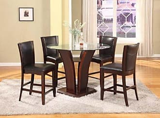 Round Hill Furniture Clar 5-Piece Glass Top Counter Height Dining Set, Espresso Finish