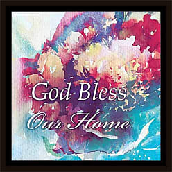 EAZL God Bless Home Watercolor Abstract Floral Religious Painting Blue & Pink, Framed Canvas Art by Pied Piper Creative