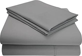 Superior 1200 Thread Count 4 Piece Cotton Blend Solid Sheet Set, Full, Grey