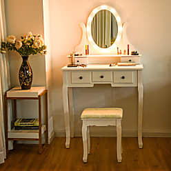 Overstock Gymax 5 Drawers Vanity Makeup Dressing Table Stool Set Lighted Mirror W/12 LED Bulbs