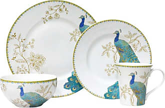 222 Fifth Peacock Garden White 16 Piece Dinnerware Set - 1027WH803I1G97