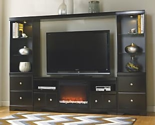 Ashley Furniture Shay 4 Piece Entertainment Center With Fireplace Black