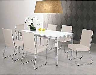 Siena Móveis Conjunto Sala de Jantar Mesa Olivia 6 Cadeiras Deise Siena Móveis Branco/Prata