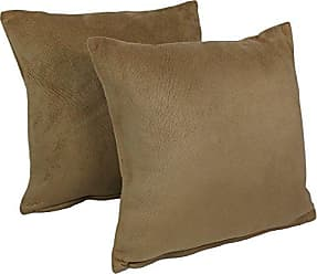 Blazing Needles Solid Faux Suede Square Throw Pillows (Set of 2), 18, Tan